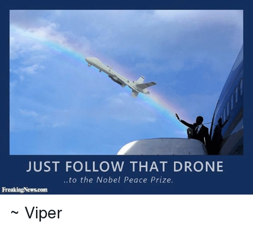 Drone, Memes, and Peace: JUST FOLLOW THAT DRONE  ..to the Nobel Peace Prize.  FreakingNews.com ~ Viper