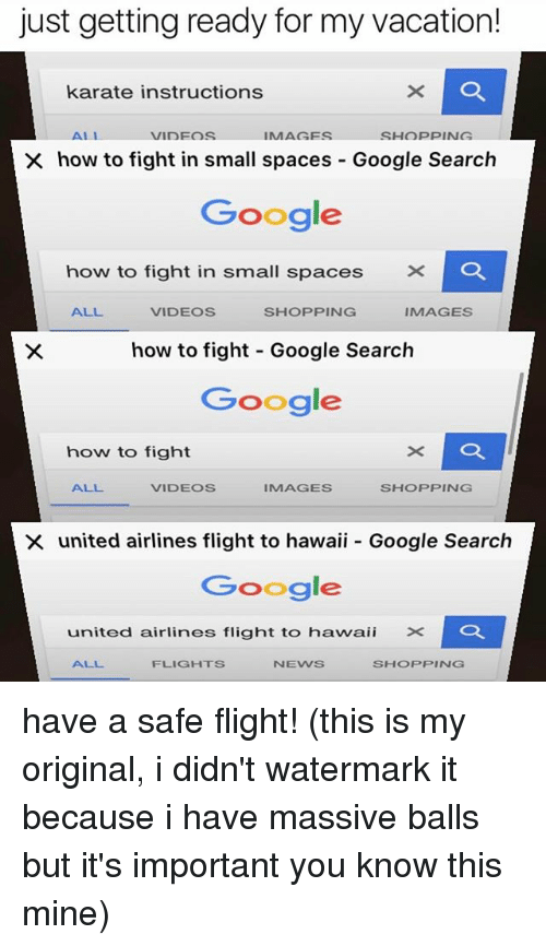 Google, Memes, and Shopping: just getting ready for my vacation!  karate instructions  SHOPPING  VIDEOS  X how to fight in small spaces Google Search  Google  how to fight in small spaces  x C  ALL.  VIDEOS  SHOPPING  IMAGES  how to fight Google Search  Google  how to fight  ALL  VIDEOS  IMAGES  SHOPPING  X united airlines flight to hawaii Google Search  Google  united airlines flight to hawaii X  NEVVS  SHCOPPING have a safe flight! (this is my original, i didn't watermark it because i have massive balls but it's important you know this mine)