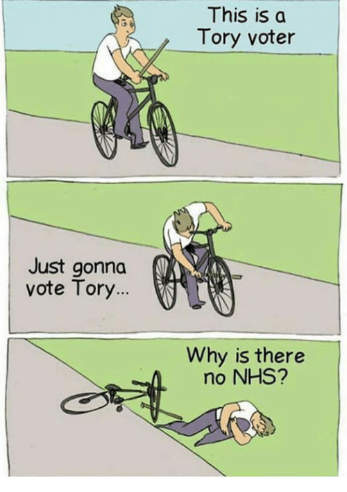 Memes, 🤖, and Nhs: Just gonna  vote Tory  This is a  Tory voter  Why is there  no NHS?