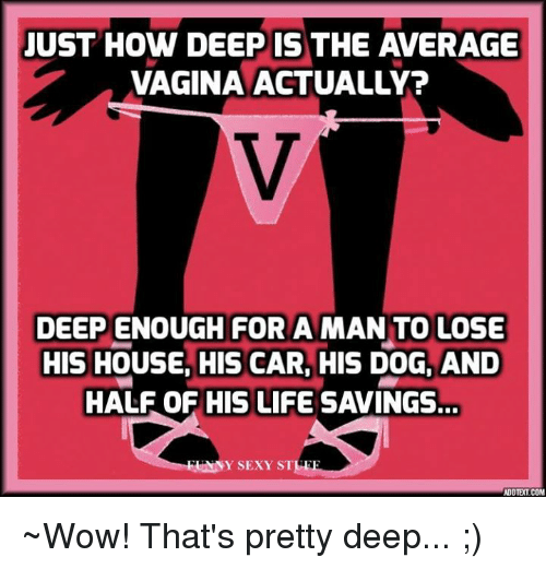 Life, Memes, and Sexy: JUST HOW DEEP IS THE AVERAGE  VAGINA ACTUALLY?  DEEP ENOUGH FOR A MAN TO LOSE  HIS HOUSE, HIS CAR, HIS DOG, AND  HALF OF HIS LIFE SAVINGS.  LANNY SEXY ST  ADOTETCOM ~Wow! That's pretty deep... ;)