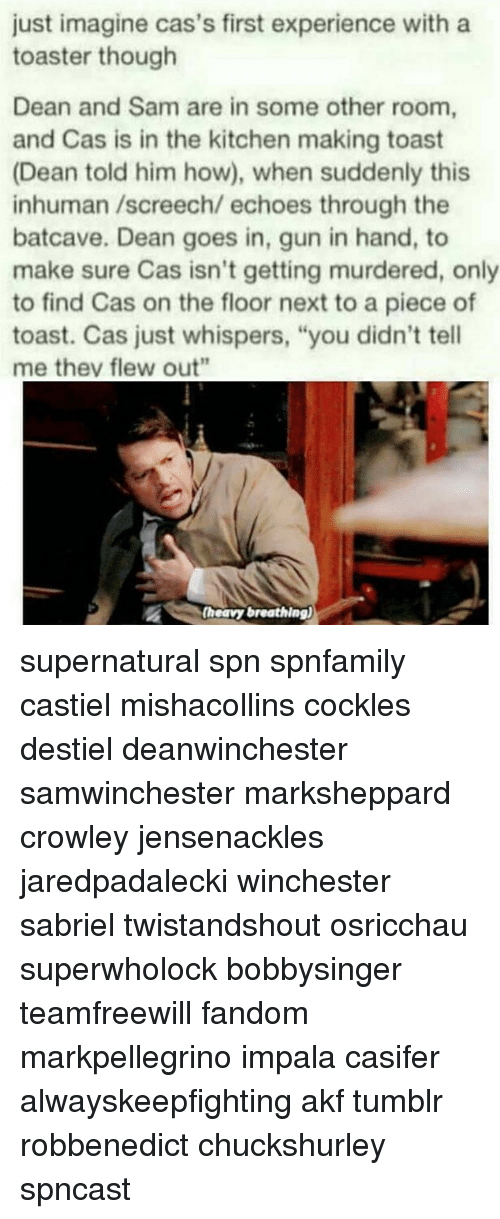 "memes: just imagine cas's first experience with a  toaster though  Dean and Sam are in some other room,  and Cas is in the kitchen making toast  (Dean told him how), when suddenly this  inhuman /screech/ echoes through the  batcave. Dean goes in, gun in hand, to  make sure Cas isn't getting murdered, only  to find Cas on the floor next to a piece of  toast. Cas just whispers, ""you didn't tell  me they flew out""  (heavy breathing) supernatural spn spnfamily castiel mishacollins cockles destiel deanwinchester samwinchester marksheppard crowley jensenackles jaredpadalecki winchester sabriel twistandshout osricchau superwholock bobbysinger teamfreewill fandom markpellegrino impala casifer alwayskeepfighting akf tumblr robbenedict chuckshurley spncast"