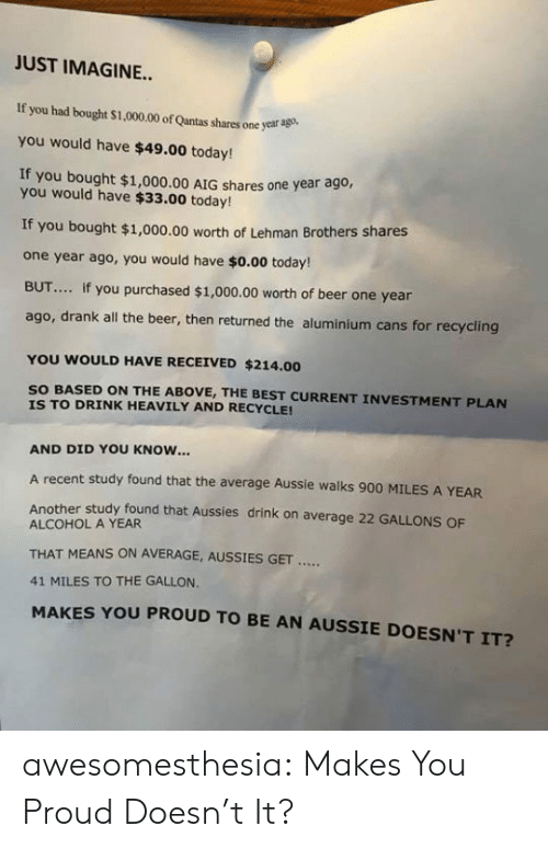 Aussie: JUST IMAGINE...  If you had bought $1,000.00 of Qantas shares one year ago  you would have $49.00 today!  If you bought $1,000.00 AIG shares one year ago,  you would have $33.00 today!  If you bought $1,000.00 worth of Lehman Brothers shares  one year ago, you would have $o.00 today!  BUT... if you purchased $1,000.00 worth of beer one year  ago, drank all the beer, then returned the aluminium cans for recycling  YOU WOULD HAVE RECEIVED $214.00  SO BASED ON THE ABOVE, THE BEST CURRENT INVESTMENT PLAN  IS TO DRINK HEAVILY AND RECYCLE!  AND DID YOU KNOW...  A recent study found that the average Aussie walks 900 MILES A YEAR  Another study found that Aussies drink on average 22 GALLONS OF  ALCOHOL A YEAR  THAT MEANS ON AVERAGE, AUSSIES GET  41 MILES TO THE GALLON.  MAKES YOU PROUD TO BE AN AUSSIE DOESN'T IT? awesomesthesia:  Makes You Proud Doesn't It?