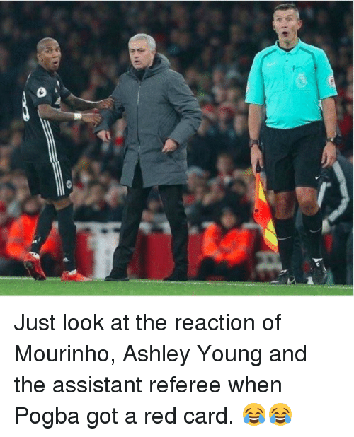Soccer, Sports, and Ashley Young: Just look at the reaction of Mourinho, Ashley Young and the assistant referee when Pogba got a red card. 😂😂