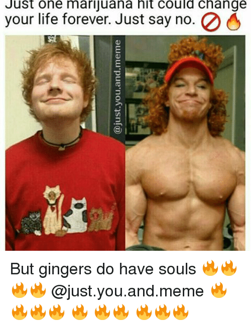 One Marijuanas: Just one marijuana hit could change  2 O  your life forever. Just say no But gingers do have souls 🔥🔥🔥🔥 @just.you.and.meme 🔥🔥🔥🔥 🔥 🔥🔥 🔥🔥🔥