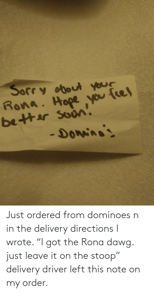 "delivery: Just ordered from dominoes n in the delivery directions I wrote. ""I got the Rona dawg. just leave it on the stoop"" delivery driver left this note on my order."