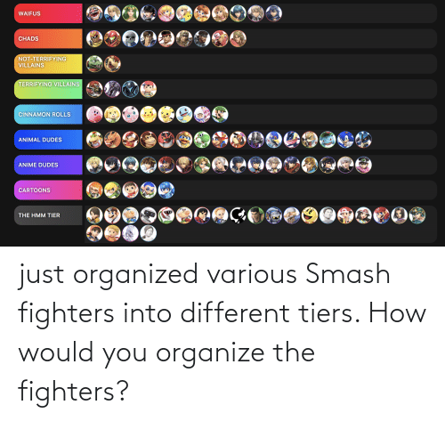Smashing: just organized various Smash fighters into different tiers. How would you organize the fighters?