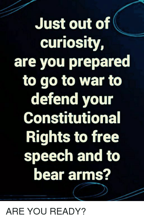 Constitutional: Just out of  curiosity  are you prepared  to go to war to  defend your  Constitutional  Rights to free  speech and to  bear arms? ARE YOU READY?