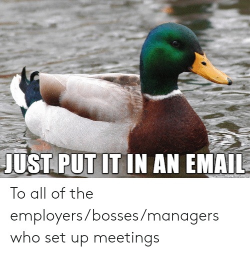 Meetings: JUST PUT IT IN AN EMAIL  made on img ur To all of the employers/bosses/managers who set up meetings