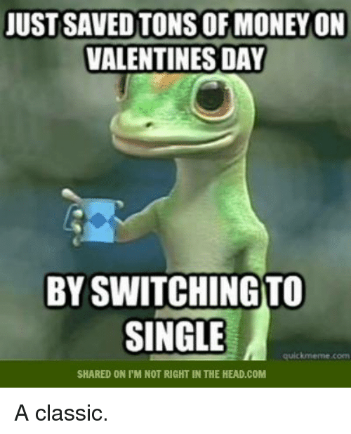 Quick Meme: JUST SAVED TONS OF MONEYON  VALENTINES DAY  BYSWITCHINGTO  SINGLE  quick meme coen  SHARED ON I'M NOT RIGHT IN THE HEAD.COM A classic.