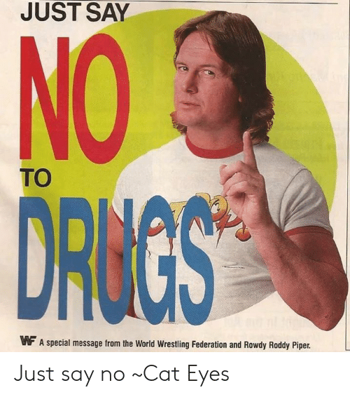Roddy Piper: JUST SAY  TO  MF A special message from the World Wrestling Federation and Rowdy Roddy Piper. Just say no ~Cat Eyes