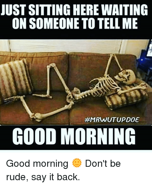 Memes, Rude, and Say It: JUST SITTING HERE WAITING  ON SOMEONE TO TELLME  MRWUTUPDOE  GOOD MORNING Good morning 🌞 Don't be rude, say it back.
