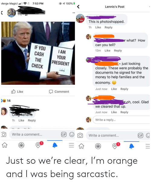 sarcastic: Just so we're clear, I'm orange and I was being sarcastic.