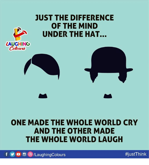 World, Mind, and Indianpeoplefacebook: JUST THE DIFFERENCE  OF THE MIND  UNDER THE HAT  LAUGHING  ONE MADE THE WHOLE WORLD CRY  AND THE OTHER MADE  THE WHOLE WORLD LAUGH  彬ustThink