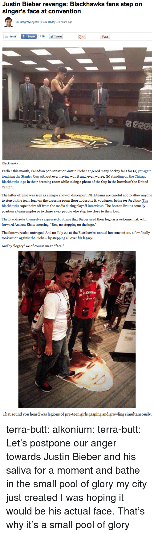 """Biebs: Justin Bieber revenge: Blackhawks fans step orn  singer's face at convention  By Greg Wyshynski 