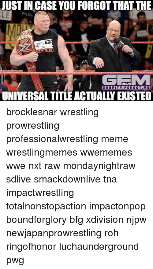 tna: JUSTIN CASE YOU FORGOT THAT THE  LE  CITY  EXT AFAYETTE LA  GRAVITY FORGOT ME  UNIVERSAL TITLE ACTUALLY EXISTED brocklesnar wrestling prowrestling professionalwrestling meme wrestlingmemes wwememes wwe nxt raw mondaynightraw sdlive smackdownlive tna impactwrestling totalnonstopaction impactonpop boundforglory bfg xdivision njpw newjapanprowrestling roh ringofhonor luchaunderground pwg