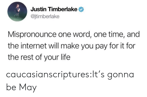 Its Gonna Be: Justin Timberlake  @jtimberlake  Mispronounce one word, one time, and  the internet will make you pay for it for  the rest of your life caucasianscriptures:It's gonna be May