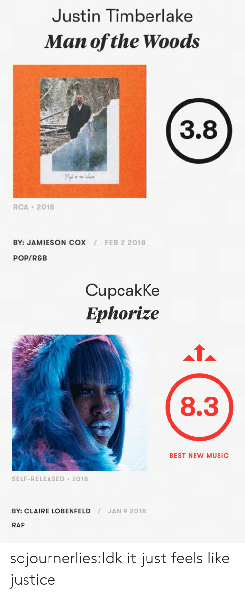 Justin TImberlake, Music, and Pop: Justin Timberlake  Man ofthe Woods  3.8  RCA 2018  BY: JAMIESON COX  FEB 2 2018  POP/REB   CupcakKe  Ephorize  8.3  BEST NEW MUSIC  SELF-RELEASED 2018  BY: CLAIRE LOBENFELD/JAN 9 2018  RAP sojournerlies:Idk it just feels like justice