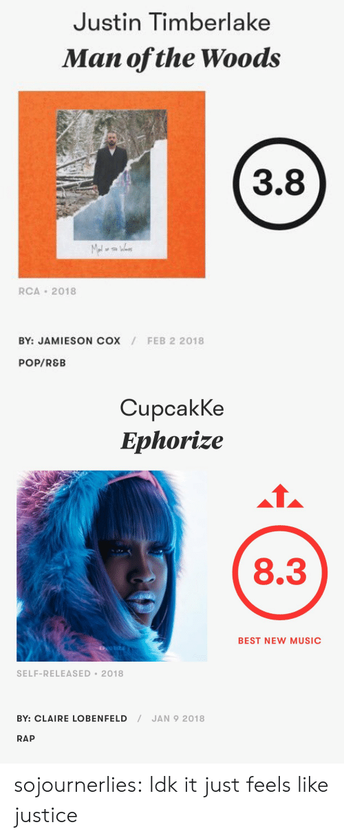 Justin TImberlake, Music, and Pop: Justin Timberlake  Man ofthe Woods  3.8  RCA 2018  BY: JAMIESON COX  FEB 2 2018  POP/REB   CupcakKe  Ephorize  8.3  BEST NEW MUSIC  SELF-RELEASED 2018  BY: CLAIRE LOBENFELD/JAN 9 2018  RAP sojournerlies: Idk it just feels like justice