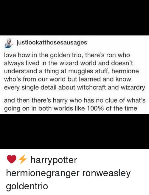 Anaconda, Hermione, and Love: justlookatthosesausages  love how in the golden trio, there's ron who  always lived in the wizard world and doesn't  understand a thing at muggles stuff, hermione  who's from our world but learned and know  every single detail about witchcraft and wizardry  and then there's harry who has no clue of what's  going on in both worlds like 100% of the time ❤️⚡️ harrypotter hermionegranger ronweasley goldentrio