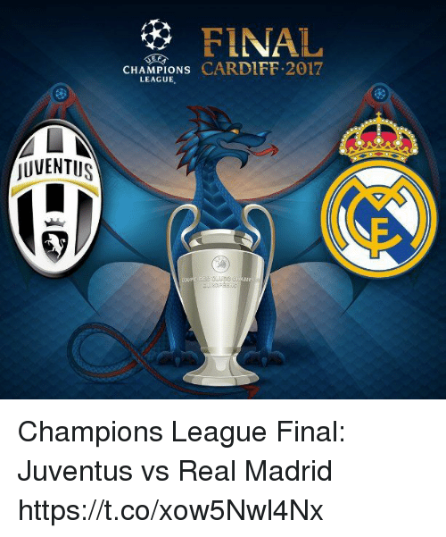 Memes, Real Madrid, and Champions League: jUVENTUS  FINAL  CHAMPIONS  LEAGUE Champions League Final:  Juventus vs Real Madrid https://t.co/xow5Nwl4Nx