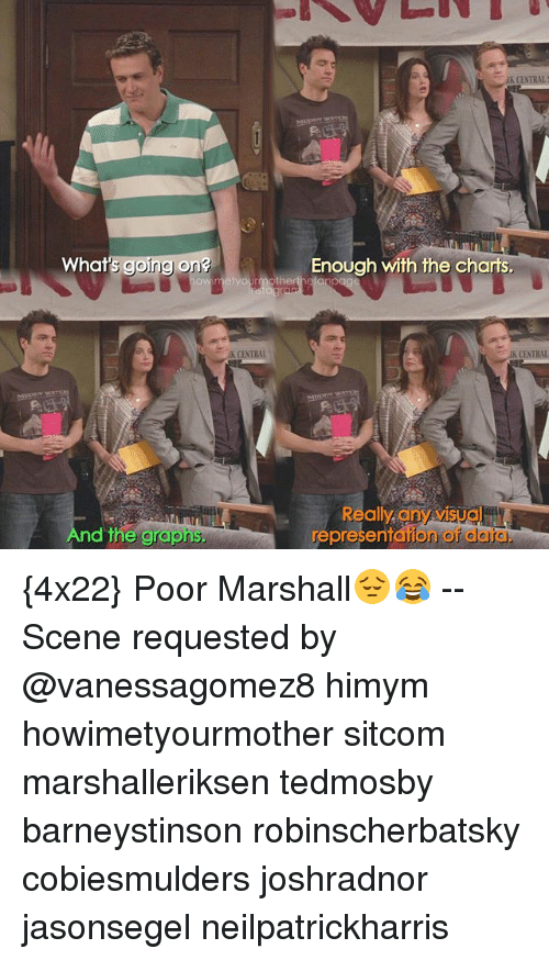 Memes, Charts, and 🤖: K CENTRAL  What  's going on?  Enough with the charts.  K CENTRAL  IK CENTRAL  And the grapns  Really any visua  representation oi  data, {4x22} Poor Marshall😔😂 -- Scene requested by @vanessagomez8 himym howimetyourmother sitcom marshalleriksen tedmosby barneystinson robinscherbatsky cobiesmulders joshradnor jasonsegel neilpatrickharris