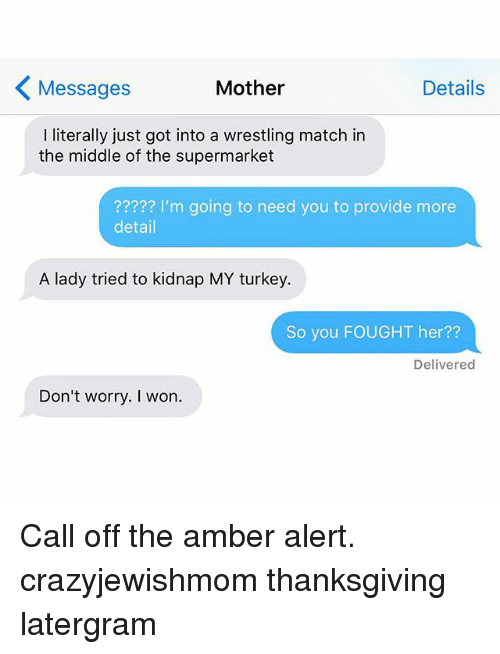 Thanksgiving, Wrestling, and I Won: K Mother  Details  Messages  I literally just got into a wrestling match in  the middle of the supermarket  I'm going to need you to provide more  detail  A lady tried to kidnap MY turkey.  So you FOUGHT her  Delivered  Don't worry. I won. Call off the amber alert. crazyjewishmom thanksgiving latergram