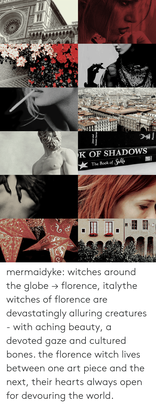 florence: K OF SHADOWS  The Book of te mermaidyke: witches around the globe → florence, italythe witches of florence are devastatingly alluring creatures - with aching beauty, a devoted gaze and cultured bones. the florence witch lives between one art piece and the next, their hearts always open for devouring the world.