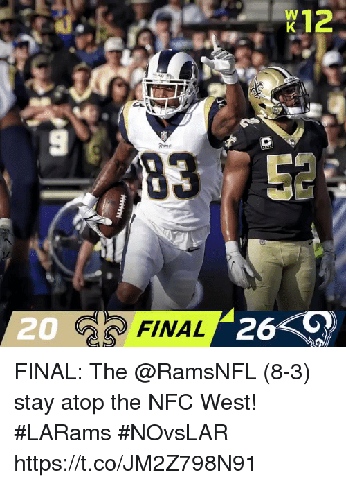 Memes, Rams, and 🤖: K12  9  Rams  20  20 FINAL  26 FINAL: The @RamsNFL (8-3) stay atop the NFC West! #LARams  #NOvsLAR https://t.co/JM2Z798N91