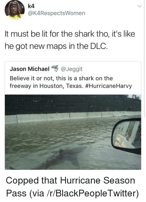 houston texas: k4  @K4RespectsWomen  It must be lit for the shark tho, it's like  he got new maps in the DLC.  Jason Michael @Jeggit  Believe it or not, this is a shark on the  freeway in Houston, Texas. <p>Copped that Hurricane Season Pass (via /r/BlackPeopleTwitter)</p>