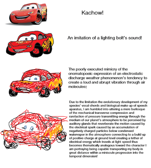 Memes, Pressure, and Progressive: Kachow!  An imitation of a lighting bolt's sound!  The poorly executed mimicry of the  onomatopoeic expression of an electrostatic  discharge weather phenomenon's tendency to  create a loud and abrupt vibration through air  molecules!  Due to the limitation the evolutionary development of my  species' vocal chords and biological make up of speech  aparatus, am humbled into uttering a mere burlesque  of the mechanical transverse compression  and  rarefaction of pressure transmitting energy through the  medium of our planet's atmosphere to be perceived by  auditory glands that reverberate the motion caused by  the electrical spark caused by an accumulation of  negatively charged particles below condensed  watervapor in the atmosphere connecting to a build up  of positive charge at ground level creating a tether of  electrical energy which travels at light speed thus  becomes thematically analogous toward the character l  am portraying being capable transporting my body in  great distance within a miniscule progression into the  temporal dimension!