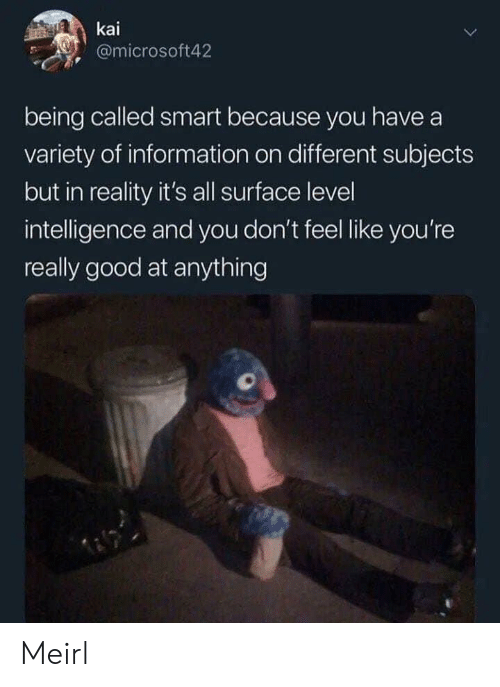 kai: kai  @microsoft42  being called smart because you have a  variety of information on different subjects  but in reality it's all surface level  intelligence and you don't feel like you're  really good at anything Meirl