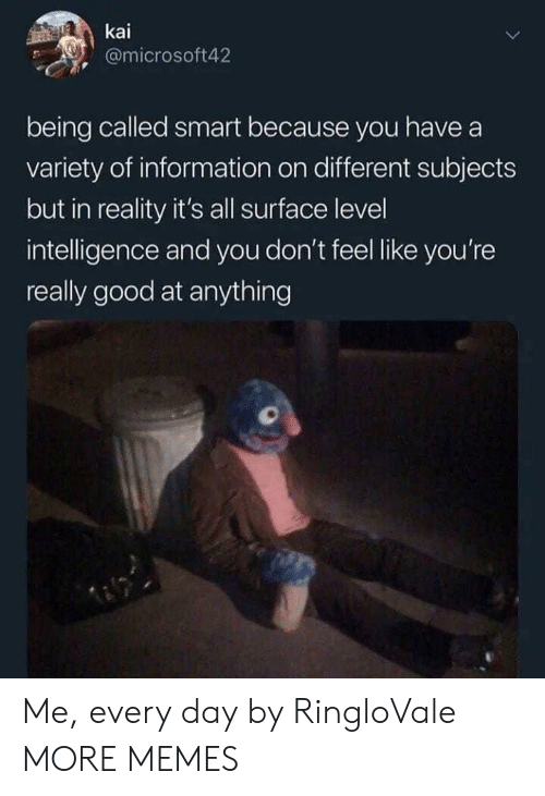 kai: kai  @microsoft42  being called smart because you have a  variety of information on different subjects  but in reality it's all surface level  intelligence and you don't feel like you're  really good at anything Me, every day by RingloVale MORE MEMES