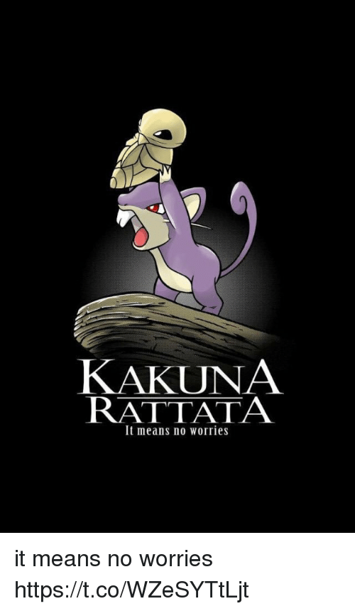 Kakuna Rattata: KAKUNA  RATTATA  It means no worries it means no worries https://t.co/WZeSYTtLjt