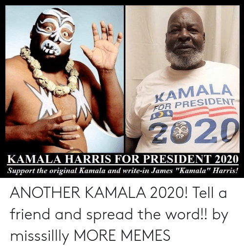 "For President: KAMALA  FOR PRESIDENT  2020  KAMALA HARRIS FOR PRESIDENT 2020  Support the original Kamala and write-in James ""Kamala"" Harris! ANOTHER KAMALA 2020! Tell a friend and spread the word!! by misssillly MORE MEMES"