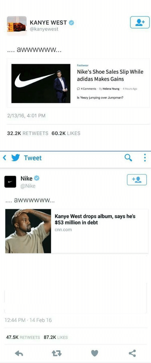 53 Million: KANYE WEST  @kanyewest  Footwear  Nike's Shoe Sales Slip While  adidas Makes Gains  O4 Comments By Helena Yeung 4 Hours Ago  Is Yeezy jumping over Jumpman?  2/13/16, 4:01 PM  32.2K RETWEETS 60.2K LIKES   Tweet  Nike  @Nike  4  aWwwwwW...  Kanye West drops album, says he's  $53 million in debt  cnn.com  12:44 PM 14 Feb 16  47.5K RETWEETS 87.2K LIKES