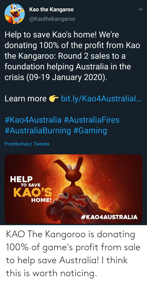 bit.ly: Kao the Kangaroo  @Kaothekangaroo  Help to save Kao's home! We're  donating 100% of the profit from Kao  the Kangaroo: Round 2 sales to a  foundation helping Australia in the  crisis (09-19 January 2020).  Learn more bit.ly/Kao4Australial..  #Kao4Australia #AustraliaFires  #AustraliaBurning #Gaming  Przetłumacz Tweeta  HELP  TO SAVE  KAO'S  НОME!  KAO The Kangoroo is donating 100% of game's profit from sale to help save Australia! I think this is worth noticing.