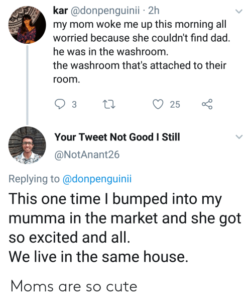 Attached: kar @donpenguinii 2h  my mom woke me up this morning all  worried because she couldn't find dad.  he was in the washroom.  the washroom that's attached to their  room.  25  Your Tweet Not Good I Still  @NotAnant26  Replying to@donpenguini  This one time I bumped into my  mumma in the market and she got  so excited and all  We live in the same house. Moms are so cute