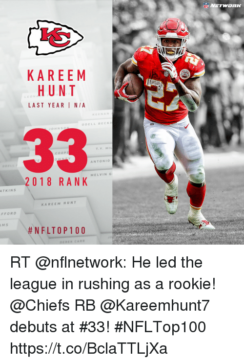 Memes, Beck, and Chiefs: KAREEM  HUNT  LEON  LAST YEAR I N/A  NAN  ODELL BECK  OHNSO  T.Y. HI  COOPE  ANTONIO  MELVING  2018 RANK  TKINS  KAREEM HUNT  FFOR  MS  RT @nflnetwork: He led the league in rushing as a rookie!  @Chiefs RB @Kareemhunt7 debuts at #33!  #NFLTop100 https://t.co/BclaTTLjXa
