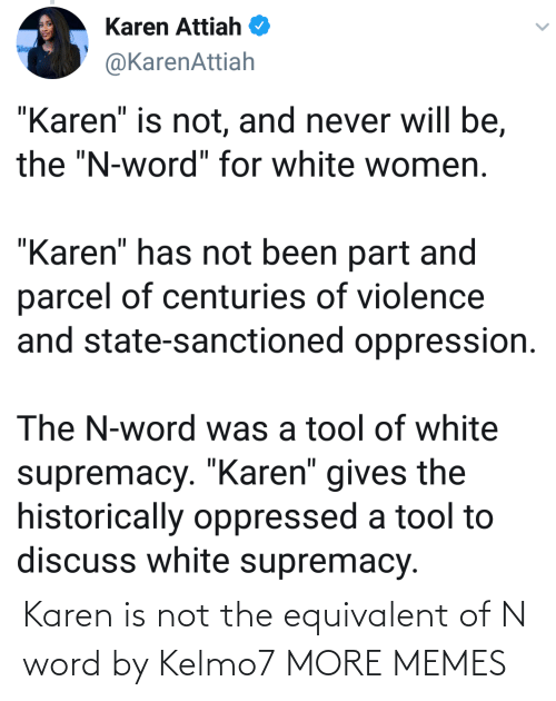 Not The: Karen is not the equivalent of N word by Kelmo7 MORE MEMES