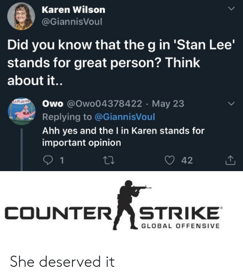 Stan: Karen Wilson  @GiannisVoul  Did you know that the g in 'Stan Lee'  stands for great person? Think  about it..  EMOn9a  Owo @Owo04378422 May 23  Replying to @GiannisVoul  Ahh yes and the I in Karen stands for  important opinion  42  1  COUNTER  STRIKE  GLOBAL OFFENSIVE She deserved it