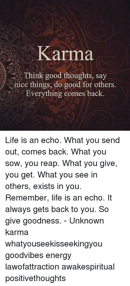 echoes: Karma  Think good thoughts, say  nice things, do good for others,  Everything comes back Life is an echo. What you send out, comes back. What you sow, you reap. What you give, you get. What you see in others, exists in you. Remember, life is an echo. It always gets back to you. So give goodness. - Unknown karma whatyouseekisseekingyou goodvibes energy lawofattraction awakespiritual positivethoughts