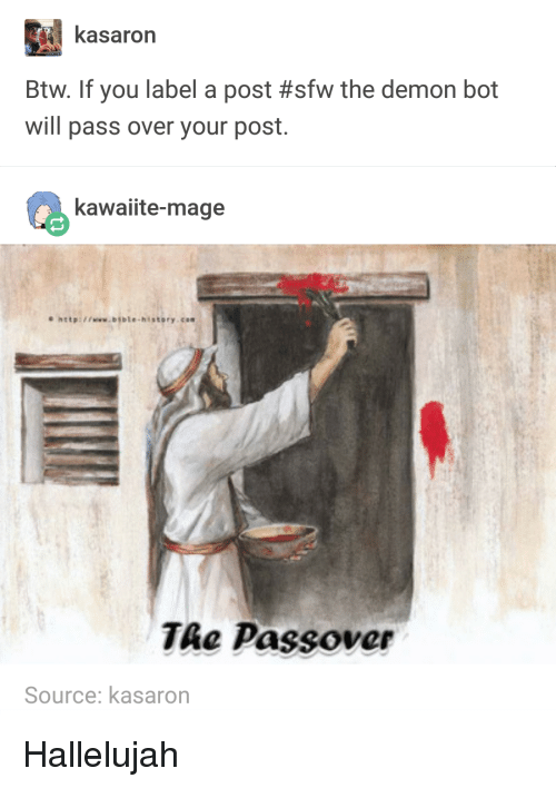 passover: kasaron  Btw. If you label a post #sfw the demon bot  will pass over your post  kawaiite-mage  hatp:www.bible-hsstory.cos  TAe Passover  Source: kasarorn Hallelujah