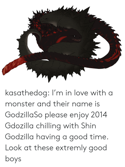 Im In Love: kasathedog:  I'm in love with a monster and their name is GodzillaSo please enjoy 2014 Gdozilla chilling with Shin Godzilla having a good time. Look at these extremly good boys