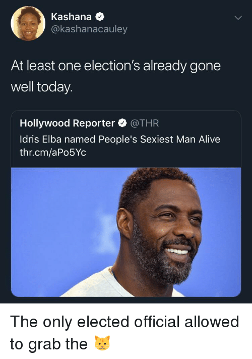 Elections: Kashana  @kashanacauley  At least one election's already gone  well today.  Hollywood Reporter @THR  ldris Elba named People's Sexiest Man Alive  thr.cm/aPo5Yc The only elected official allowed to grab the 🐱