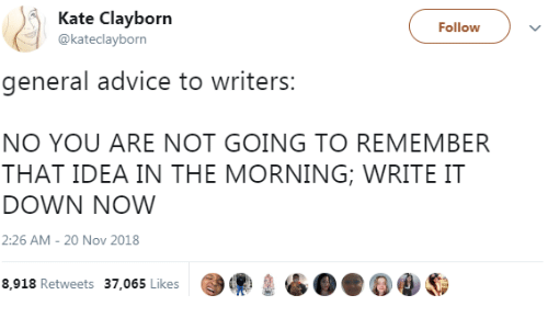 No You Are: Kate Clayborn  @kateclayborn  Followv  general advice to writers  NO YOU ARE NOT GOING TO REMEMBER  THAT IDEA IN THE MORNING; WRITE IT  DOWN NOW  2:26 AM- 20 Nov 2018  8,918 Retweets 37.065 Likes99