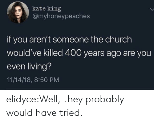 the church: kate king  @myhoneypeaches  if you aren't someone the church  would've killed 400 years ago are you  even living?  11/14/18, 8:50 PM elidyce:Well, they probably would have tried.