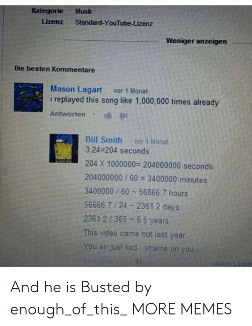 shame on you: Kategorie Musk  Lizenz Standard-YouTube-Lizenz  Weniger anzeigen  Die besten Kommentare  Mason Lagart vor 1 Monat  i replayed this song like 1,000,000 times already  Antworten . 1  Bill Smith vor 1 Monat  3:24-204 seconds  204 X 1000000 204000000 seconds  204000000/60 3400000 minutes  3400000 / 60 56666.7 hours  56666.7 24 2361.2 days  23612/365 6 5 years  This video came out last year  You sir just lied shame on you And he is Busted by enough_of_this_ MORE MEMES