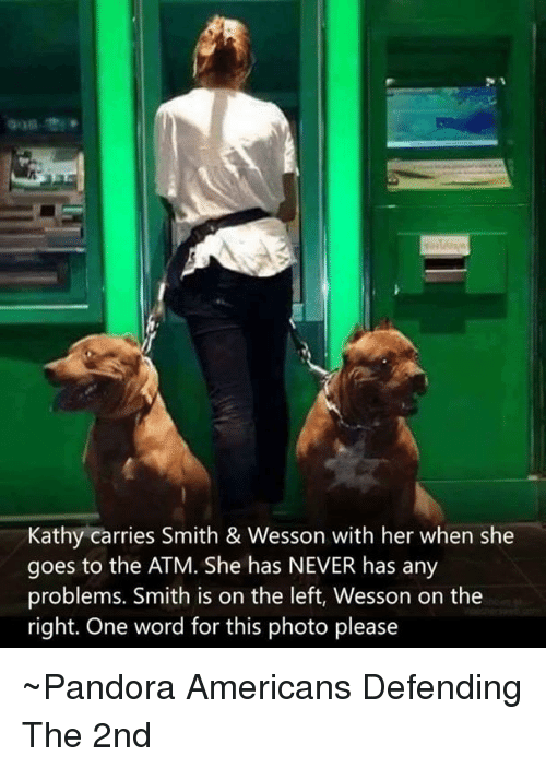Kathie: Kathy carries Smith & Wesson with her when she  goes to the ATM. She has NEVER has any  problems. Smith is on the left, Wesson on the  right. One word for this photo please ~Pandora   Americans Defending The 2nd