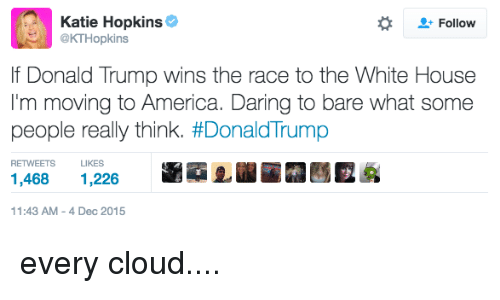 America, Donald Trump, and White House: Katie Hopkins  Follow  @KTHopkins  lf Donald Trump wins the race to the White House  I'm moving to America. Daring to bare what some  people really think. #Donald Trump  LIKES  1,468  1,226  11:43 AM 4 Dec 2015 every cloud....