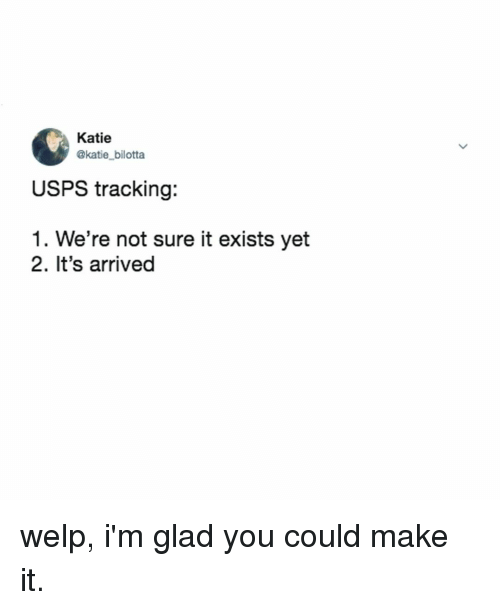 Relatable, Make, and You: Katie  @katie_bilotta  USPS tracking:  1. We're not sure it exists yet  2. It's arrived welp, i'm glad you could make it.